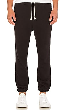 JOHN ELLIOTT Unfinished Edge Sweatpant in Black