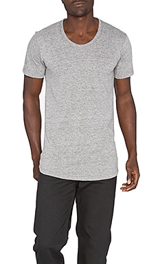 John Elliott + Co Curve U-Neck Tee in Grey