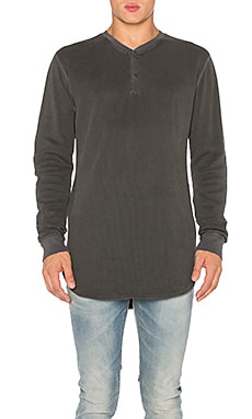 JOHN ELLIOTT Flatback Thermal Henley in Washed Black