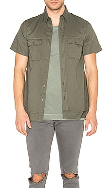 JOHN ELLIOTT 2 Layer Military Shirt in Washed Olive