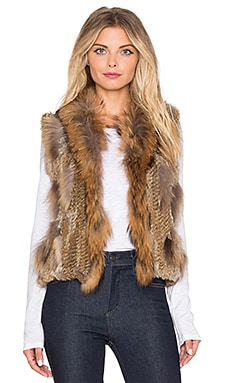 Jennifer Kate Staple Rabbit Fur Gilet Vest in Caramel