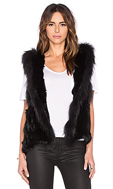 Jennifer Kate Staple Long Hooded Rabbit Fur Gilet Vest in Black