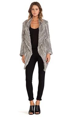 Jennifer Kate Waterfall Rabbit Fur Jacket in Natural Grey