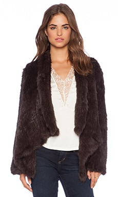 Jennifer Kate Promenade Rabbit Fur Jacket in Chocolate