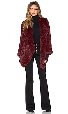 Jennifer Kate Cascade Rabbit Fur Coat in Burgundy