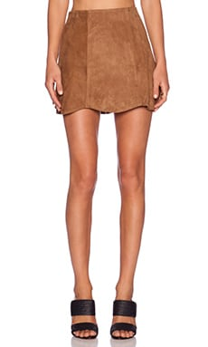 Jennifer Kate Suede Mini Skirt in Camel