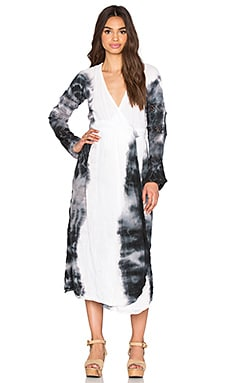 Caravan Wrap Dress en White & Black Hed
