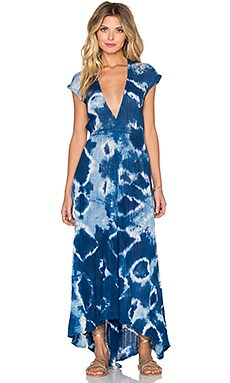 Paloma Dress in Indigo Geo Tie Dye