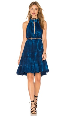 Arden Dress in Hot Turquoise & Indigo Fold Tie Dye
