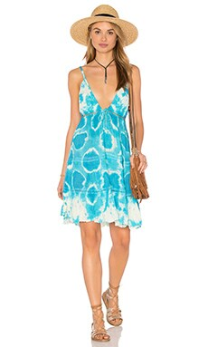 Evangeline Dress in Breeze Blue Geo Tie Dye