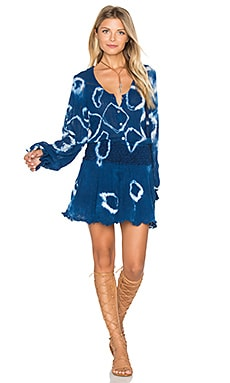 Spirit Mini Dress in Indigo Geo Tie Dye