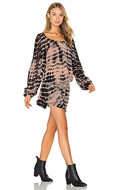 Bianca Mini Dress in Clay & Black Lightening Tie Dye