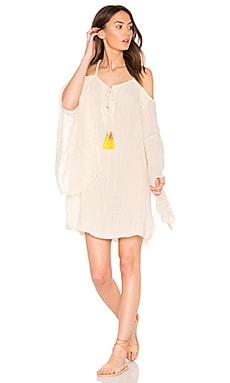 Tassel Wildlife Drop Back Mini Dress en Natural & Green Yellow Tassels