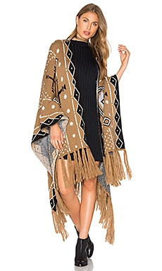Mudcloth Shawl Poncho – Mud & Black