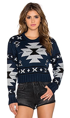 Jen's Pirate Booty Aztec Crop Sweater in Indigo Aztec