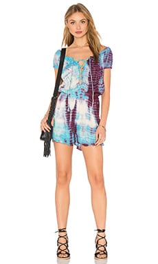 Frontier Romper in Deep Red & Hot Turquoise Fold Tie Dye
