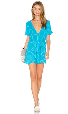 Ramblin' Rose Romper in Hot Turquoise & White Geo Tie Dye