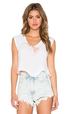 Jen's Pirate Booty Paloma Crop Top in White & Clay