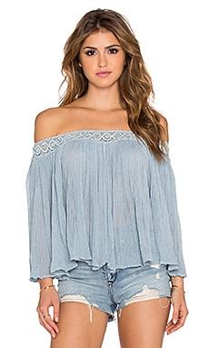 Jen's Pirate Booty Off the Shoulder Top in Haze Grey