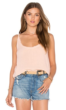 Unfinished Edge Remix Top in Peach