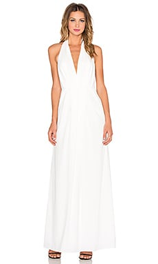 JILL JILL STUART Deep V Halter Maxi Dress in Off White