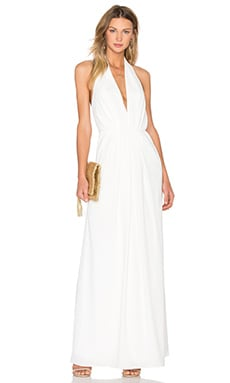JILL JILL STUART V Neck Pleated Gown in Off White