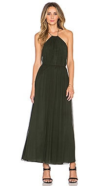 JILL JILL STUART Cross Back Halter Maxi Dress in Evergreen