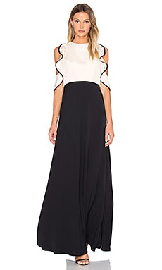 JILL JILL STUART Ruffle Top Gown in Bisque & Black