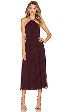JILL JILL STUART Cross Back Halter Maxi Dress en Prune