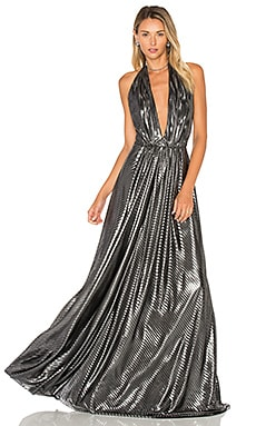 Deep V Gown in Silver & Black