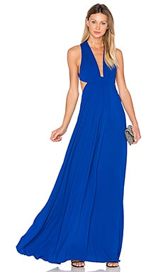 Deep V Cross Back Gown in Cobalt