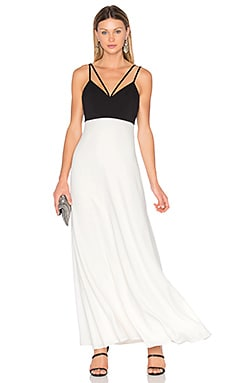 Two Tone Gown in Black & Off White