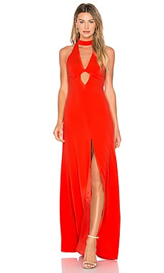 High Neck Gown in Tangerine