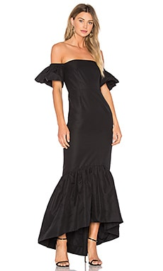 Ruffle Off the Shoulder Maxi Dress in Black