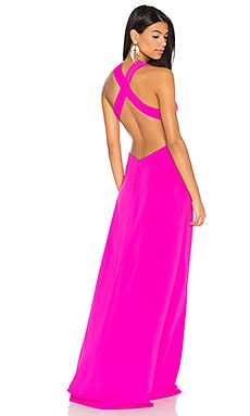 Cross Back Gown in Fuchsia Rose