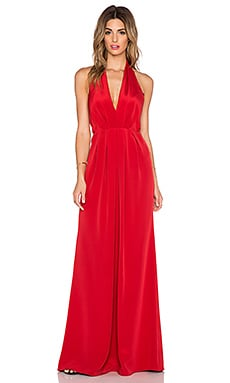 JILL JILL STUART Deep V Halter Maxi Dress in Persimmon