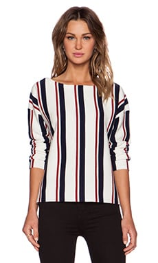 Jenni Kayne Baja Sweater in Ivory, Navy & Red