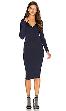 Faye V Neck Sweater Dress in Deep Sea
