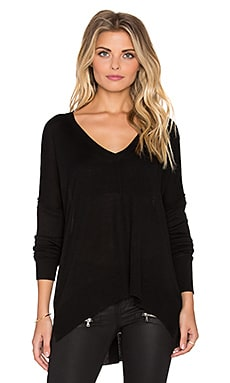 John & Jenn by Line Pax V Neck Sweater in Caviar