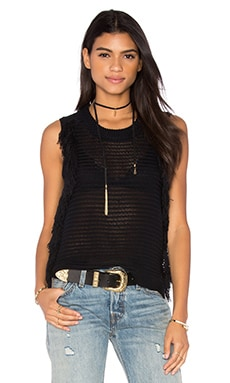Tabitha Sleeveless Fringe Sweater in Caviar