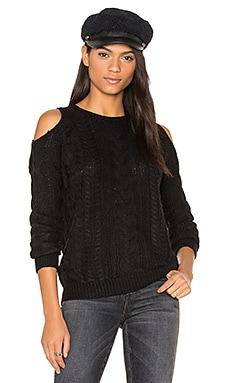 Lina Cold Shoulder Sweater in Caviar