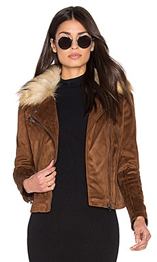 John & Jenn by Line Hudson Faux Suede Moto Jacket with Faux Fur Collar in Cedar Oak