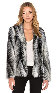 John & Jenn by Line Timothy Faux Fur Coat in Overcast