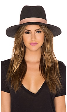Janessa Leone Quartz Hat in Raven & Pink Leather