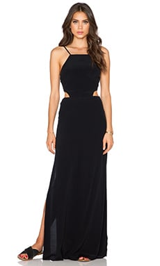 J.O.A. Side Cut Out Maxi Dress in Black