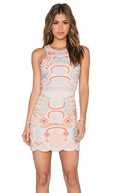 J.O.A. Embroidery Sleeveless Dress in Light Khaki