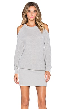 J.O.A. Cold Shoulder Sweater Dress in Grey