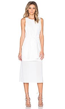 J.O.A. Tie Front Midi Dress in White
