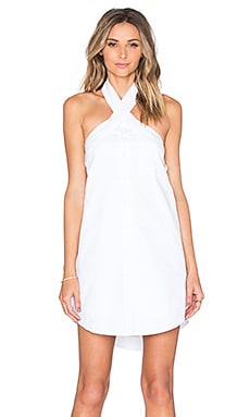 Button Up Halter Dress in Off White
