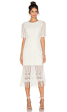 J.O.A. Fringe Midi Dress in White